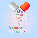 Capsule With Vitamins Nutrient Minerals Colorful Banner Healthy Life Nutrition Chemistry Element Concept
