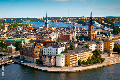 Aluminium Stockholm Cityscape of Stockholm. Panorama view of historical part of Stockholm in Sweden