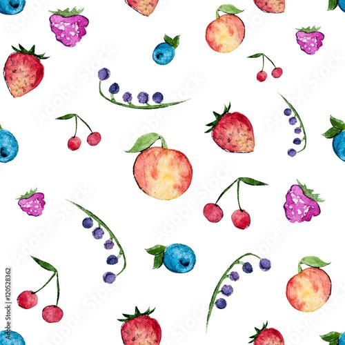 Fototapeta Set of watercolor berries