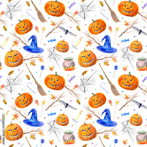 Materiał do szycia seamless pattern with pumpkin jack-o'-lantern, lollipop,broom,candle,broom,tree,autumn leaves and candy.halloween.watercolor hand drawn illustration.white background.