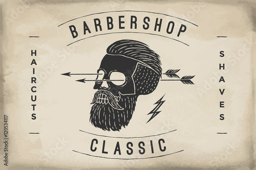 Poster of Barbershop label on a beige paper texture
