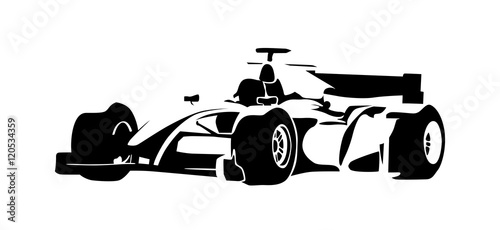 Fotobehang F1 Formula racing car, abstract vector silhouette