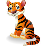 Cartoon tiger sitting
