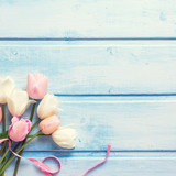 Spring white and pink spring tulips and  pink ribbon  on  blue w