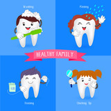 Fototapety Healthy family tooth. Oral hygiene banners with cute tooth.  Brushing, flossing,  rinsing and check up.  illustration.