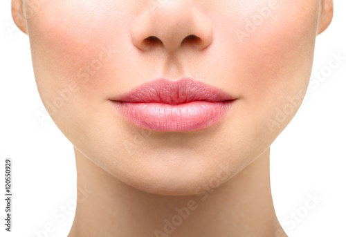 Young woman close up. Sexy plump lips Plakat
