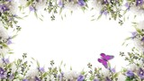 Bouquet of blue irises, white flowers and butterfly. Footage with alpha channel. File format - mov. Codec - PNG+Alpha