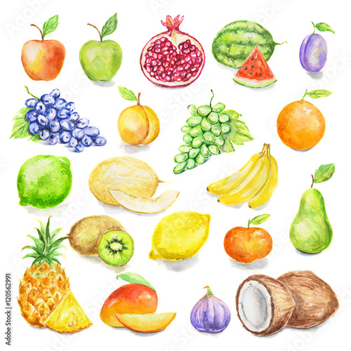 Fototapeta Watercolor fruit set. Juicy and colorful tropical fruit on white background including apples, mango, plum, coconut, lime and more. Vegetarian diet food with vitamins.