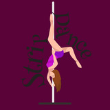 Female Pole dancer, woman dancing on pylon, sexy strip girl dancer, yong stripper, sport dance, isolated on colored background pretty woman body, beautiful slim girl long hair vector illustration