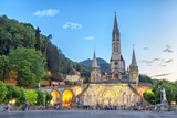 Rosary Basilica in the evening in Lourdes