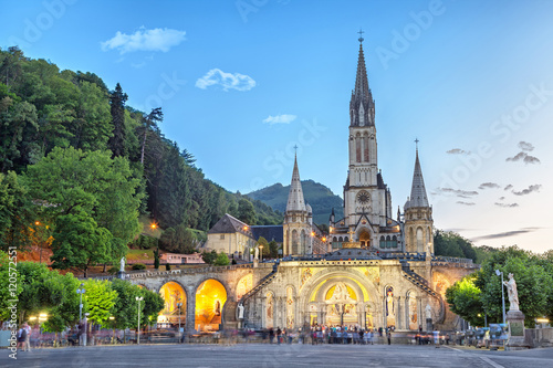 Rosary Basilica in the evening in Lourdes - 120572551