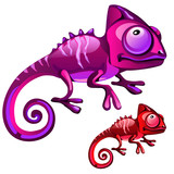 Two cartoon iguanas in red and purple color