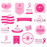 Set of breast cancer label and Badges pink color.