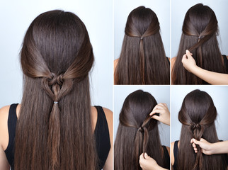 twisted heart hairstyle tutorial for long hair © alter_photo