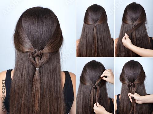 Foto op Plexiglas Kapsalon twisted heart hairstyle tutorial for long hair