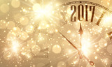 2017 New Year banner with clock.