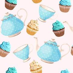 Seamless teacups and cupcakes
