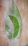 Banana leaf cut in the shape of a typical leaf. A banana form drawn inside.