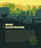 Fototapety Farm illustration background, colored silhouettes elements, flat