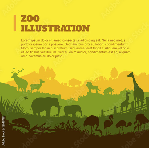Fotobehang Zoo Zoo world illustration background, colored silhouettes elements, flat