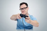 Portrait man with a joystick playing in game. Gamer concept