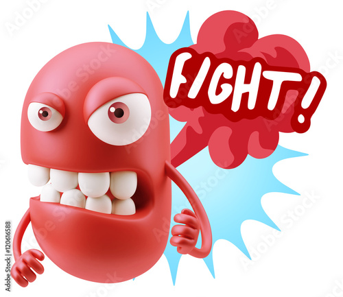 Staande foto Stierenvechten 3d Rendering Angry Character Emoji saying Fight with Colorful Sp