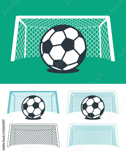 Set of soccer balls with nets and goal posts