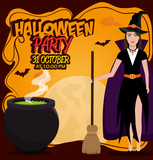 poster halloween party with witch isolated vector illustration eps 10