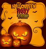 poster halloween party with pumpkin design isolated vector illustration eps 10