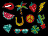 Fototapety Set of sequin pop art summer patch icons