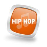hip hop square orange glossy chrome silver metallic web icon