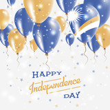 Marshall Islands Vector Patriotic Poster. Independence Day Placard with Bright Colorful Balloons of Country National Colors. Marshall Islands Independence Day Celebration.
