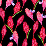 Seamless floral tropical pattern. Hand painted watercolor exotic bromelia flowers on black background. Textile design.
