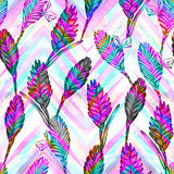 Seamless floral tropical pattern. Hand painted watercolor exotic bromelia flowers on chevron ornament background. Vivid spectral tones. Textile design.