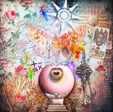 Collage background with magic crystal ball and moth - 120659332