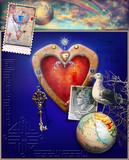 Cuore,chiave e mongolfiera con arcobaleno,emozioni,ricordi e immaginazione - 120659796