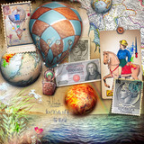 Seaside of summertime,vintage stamps and hot air balloons
