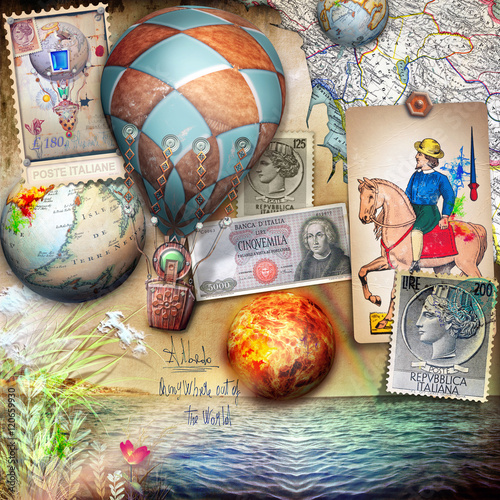 Staande foto Imagination Seaside of summertime,vintage stamps and hot air balloons