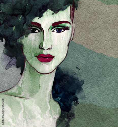 Style woman portrait. Abstract fashion watercolor illustration - 120672558