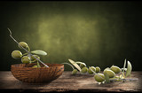wooden bowl with olive branches - 120677769