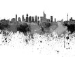 Frankfurt skyline in black watercolor on white background