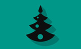 Vector christmas tree icon with long shadow on flat background