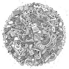 Cartoon doodles hand drawn School illustration