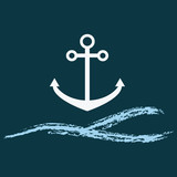 Marine icon.Nautical logo.Sea wave logo for maritime companies.