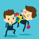 businessman punching opponent unconscious