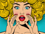 Fototapety Sexy surprised blonde pop art woman with wide open eyes and mouth and rising hands screaming. Vector background in comic retro pop art style. Party invitation.