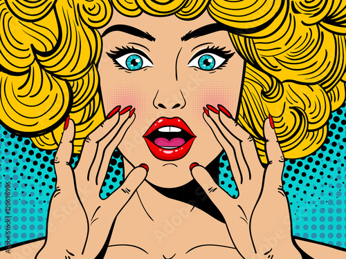 Sexy surprised blonde pop art woman with wide open eyes and mouth and rising hands screaming. Vector background in comic retro pop art style. Party invitation. - 120696906