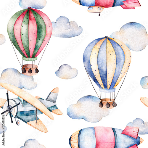 Seamless pattern with air balloons,airship,clouds and the plane in pastel colors.Watercolor air ballons beautifully decorated on white background and other aircrafts.Perfect for wallpaper - 120698556