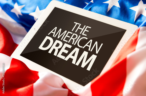 Poster The American Dream on tablet and the US flag