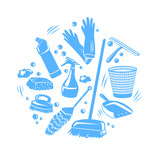cleaning tools in a home, silhouette - 120699940